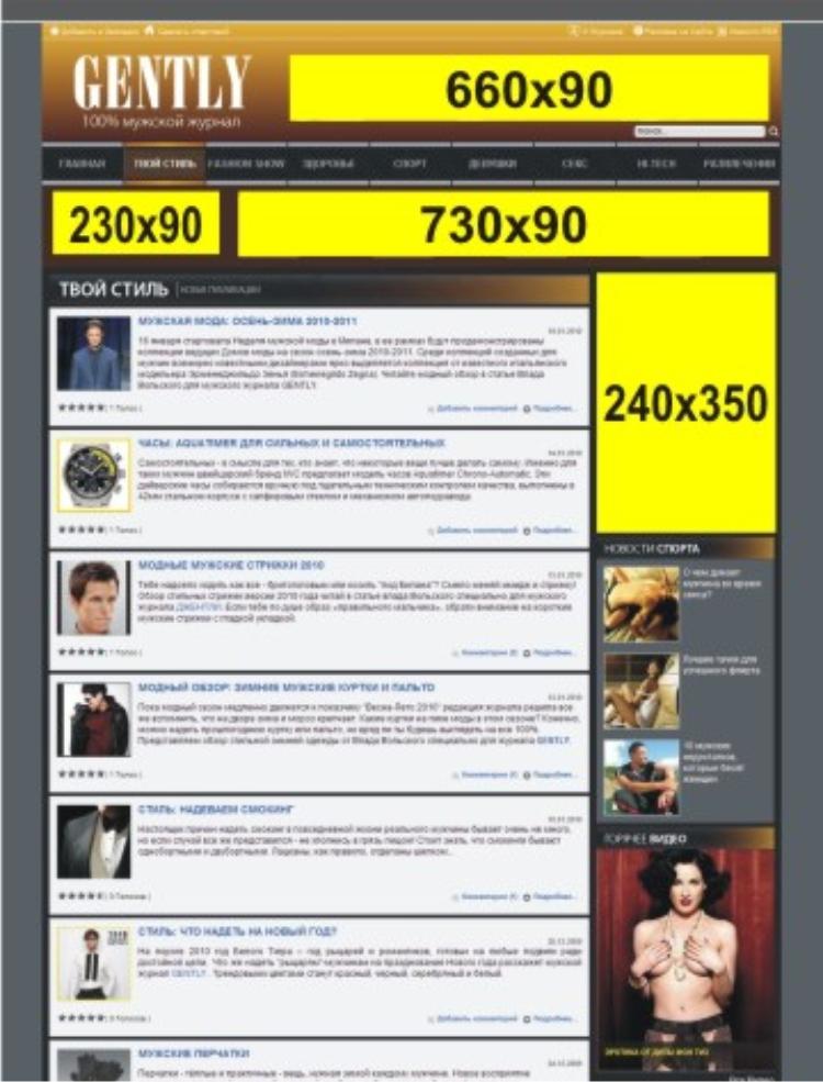 Реклама на сайте GENTLY.com.ua